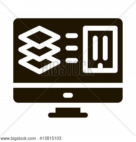 Computer Simulation Of Building Glyph Icon Vector. Computer Simulation Of Building Sign. Isolated Sy