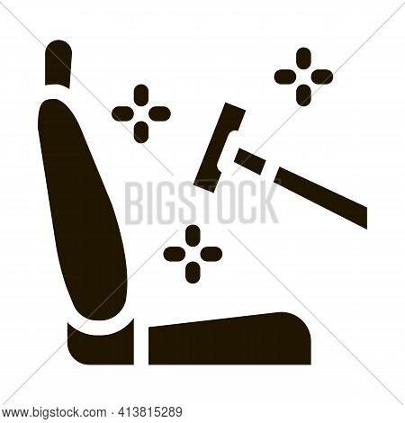 Cleaning Of Seats In Car Glyph Icon Vector. Cleaning Of Seats In Car Sign. Isolated Symbol Illustrat