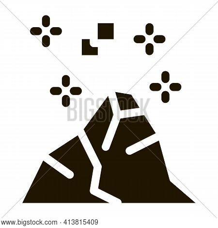 Conquering Top Of Mountain Glyph Icon Vector. Conquering Top Of Mountain Sign. Isolated Symbol Illus