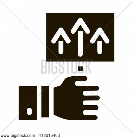 Pointer Only Up Glyph Icon Vector. Pointer Only Up Sign. Isolated Symbol Illustration