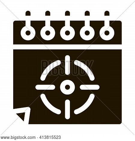 Target On Sheet Glyph Icon Vector. Target On Sheet Sign. Isolated Symbol Illustration