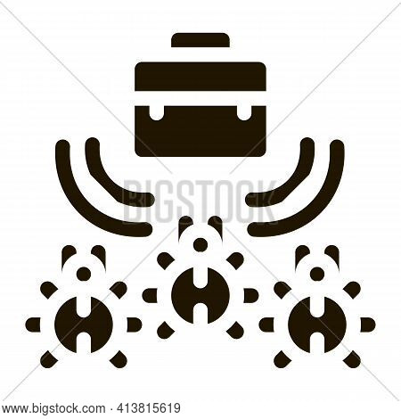 Bugs For Listening In Briefcase Glyph Icon Vector. Bugs For Listening In Briefcase Sign. Isolated Sy