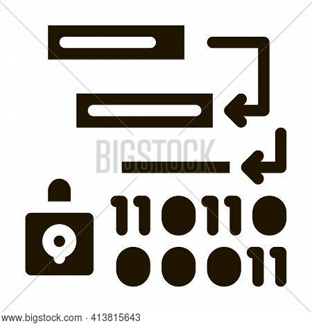 Binary Protection Algorithm Glyph Icon Vector. Binary Protection Algorithm Sign. Isolated Symbol Ill