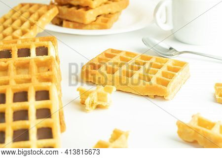 Sweet Carbohydrate Waffles, Delicious Calories On White Background, Slices Isolated