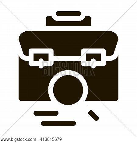 Briefcase Bag Check Glyph Icon Vector. Briefcase Bag Check Sign. Isolated Symbol Illustration