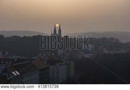 Aerial View Over Prague 2 District From Nusle Bridge, With Typical Architecture, Old Defense Wall Of