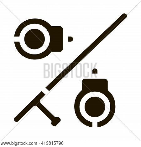 Handcuffs And Bats Glyph Icon Vector. Handcuffs And Bats Sign. Isolated Symbol Illustration