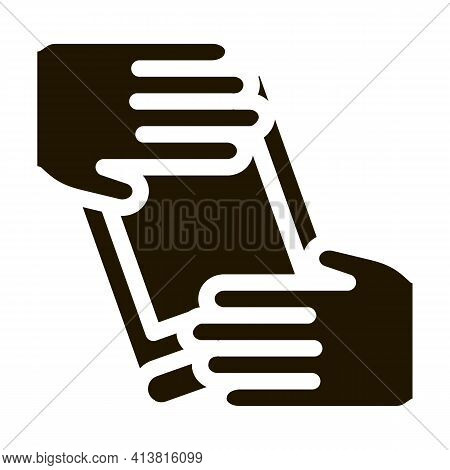 Hand Over Book Glyph Icon Vector. Hand Over Book Sign. Isolated Symbol Illustration