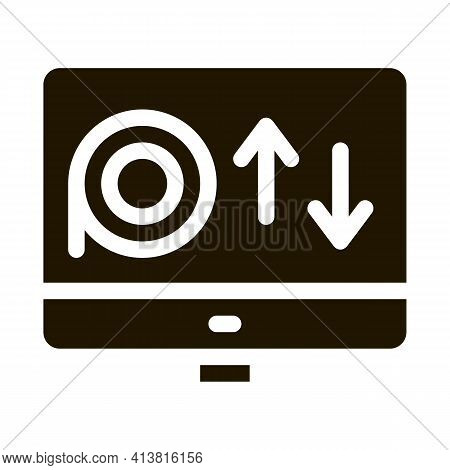 Online Discs Viewing Glyph Icon Vector. Online Discs Viewing Sign. Isolated Symbol Illustration