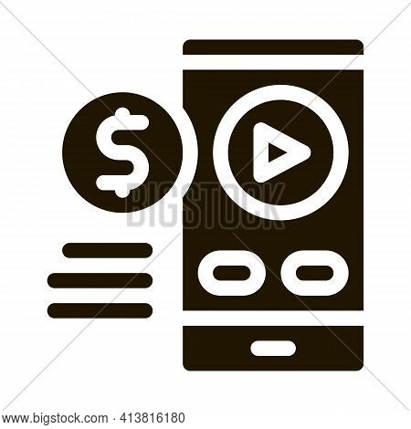 Selling Phone Player Glyph Icon Vector. Selling Phone Player Sign. Isolated Symbol Illustration