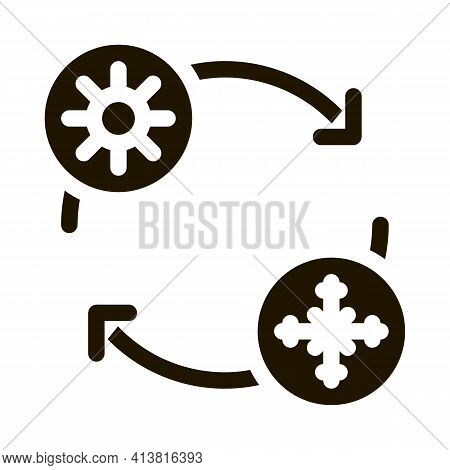 Replacing Summer Tires With Winter Tires Glyph Icon Vector. Replacing Summer Tires With Winter Tires
