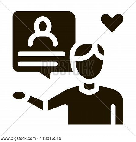 Conversation About Loved One Glyph Icon Vector. Conversation About Loved One Sign. Isolated Symbol I