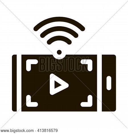 Watching Video With Wifi Glyph Icon Vector. Watching Video With Wifi Sign. Isolated Symbol Illustrat