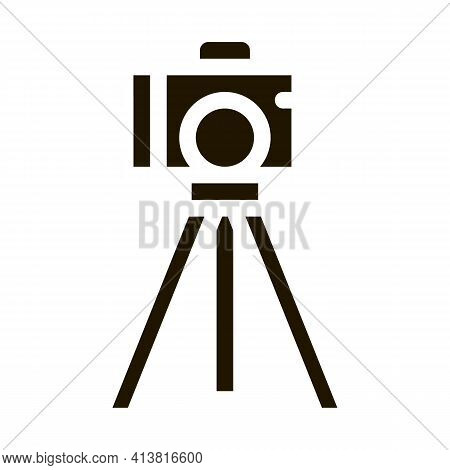 Video Camera With Tripod Glyph Icon Vector. Video Camera With Tripod Sign. Isolated Symbol Illustrat
