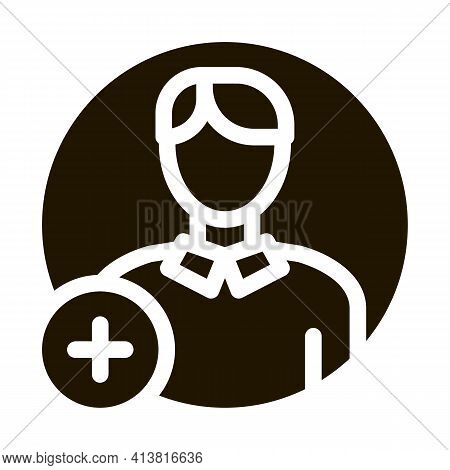 Adding New Person Glyph Icon Vector. Adding New Person Sign. Isolated Symbol Illustration