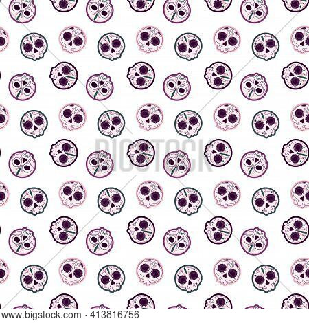 Seamless Pattern Painted Skulls With Colored Contour Outline Without Background