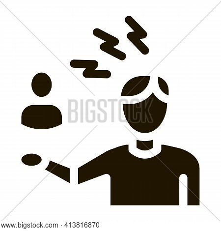 Discussion And Condemnation Of Man Glyph Icon Vector. Discussion And Condemnation Of Man Sign. Isola