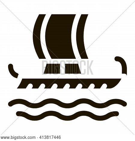 Greek Merchant Ship Glyph Icon Vector. Greek Merchant Ship Sign. Isolated Symbol Illustration