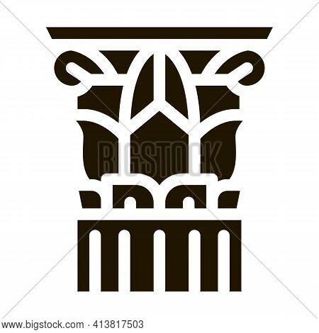 Threaded Greek Column Glyph Icon Vector. Threaded Greek Column Sign. Isolated Symbol Illustration