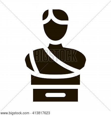 Bust Of Greek Emperor Glyph Icon Vector. Bust Of Greek Emperor Sign. Isolated Symbol Illustration
