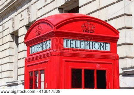 London Red Telephone Booth - Symbol Of United Kingdom. London Payphone.