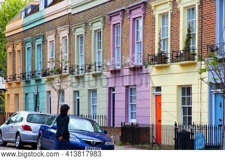 London, Uk - May 15, 2012: Street View Of Colorful Residential Area In Camden Town District Of Londo