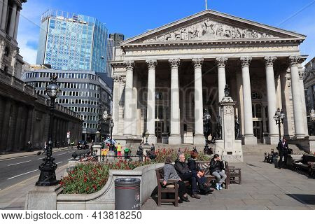 London, Uk - May 15, 2012: People Visit The Royal Exchange In London. London Is The Most Populous Ci