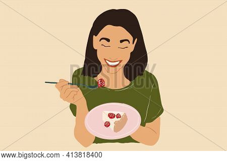 Pretty Woman In Green T-shirt Enjoys Cheesecake, Eating Sweet Food With Raspberry. Vector Illustrati