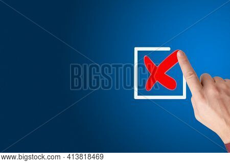 Checklist Concept, Businessman Checking Mark On The Check Boxes With Marker Red, Hand With A Finger