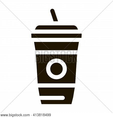 Drink With Straw Glyph Icon Vector. Drink With Straw Sign. Isolated Symbol Illustration