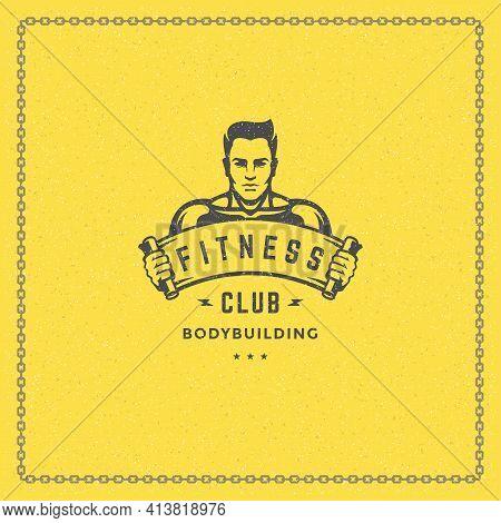 Bodybuilder Man Logo Or Badge Vector Illustration Male Bodybuilding Symbol Silhouette.
