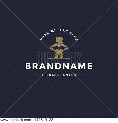 Bodybuilder Woman Logo Or Badge Vector Illustration Female Bodybuilding Symbol Silhouette