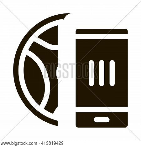 Distracting Phone While Driving Glyph Icon Vector. Distracting Phone While Driving Sign. Isolated Sy
