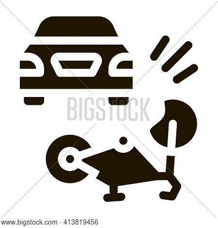 Bike And Car Accident Glyph Icon Vector. Bike And Car Accident Sign. Isolated Symbol Illustration