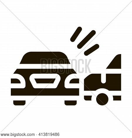Collision Of Two Cars Glyph Icon Vector. Collision Of Two Cars Sign. Isolated Symbol Illustration