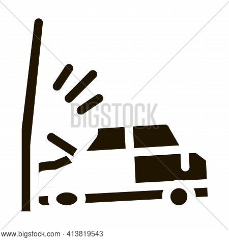 Plunging Car Into Pole Glyph Icon Vector. Plunging Car Into Pole Sign. Isolated Symbol Illustration