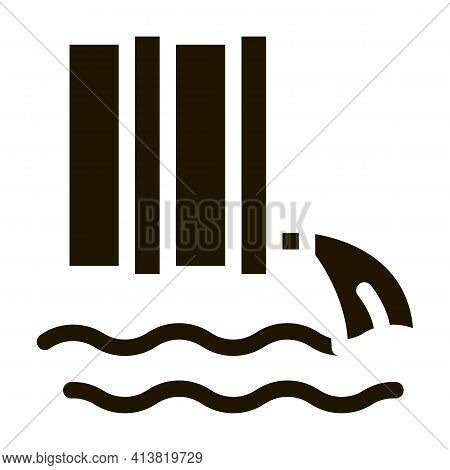 Spill Of Harmful Substances Into Water Glyph Icon Vector. Spill Of Harmful Substances Into Water Sig
