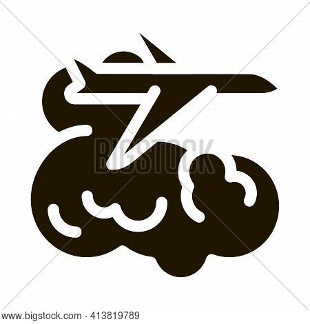 Plane Flies In Clouds Glyph Icon Vector. Plane Flies In Clouds Sign. Isolated Symbol Illustration