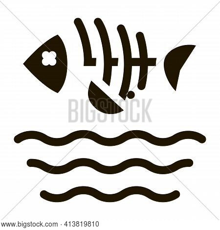 Death Of Fish In Water Glyph Icon Vector. Death Of Fish In Water Sign. Isolated Symbol Illustration
