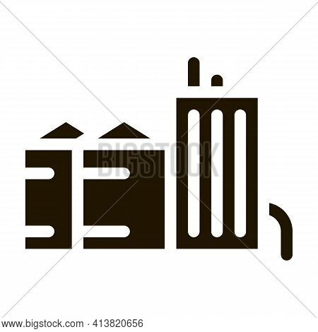 Heaters With Residential Buildings Glyph Icon Vector. Heaters With Residential Buildings Sign. Isola