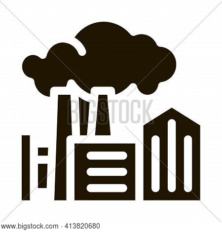 Harmful Substances Stations Above Houses Glyph Icon Vector. Harmful Substances Stations Above Houses