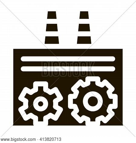 Technical Settings Of Thermal Power Plant Glyph Icon Vector. Technical Settings Of Thermal Power Pla