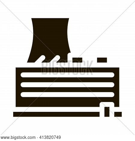 Single Tower Nuclear Power Plant Glyph Icon Vector. Single Tower Nuclear Power Plant Sign. Isolated