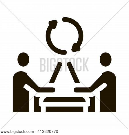 Exchange Of Computer Experience Glyph Icon Vector. Exchange Of Computer Experience Sign. Isolated Sy