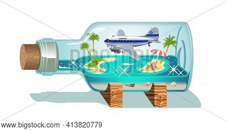 Vector Cartoon Summer Souvenir Bottle. Available Eps-10 Vector Format Separated By Groups For Easy E