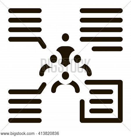 Functions Of Person From Group Glyph Icon Vector. Functions Of Person From Group Sign. Isolated Symb