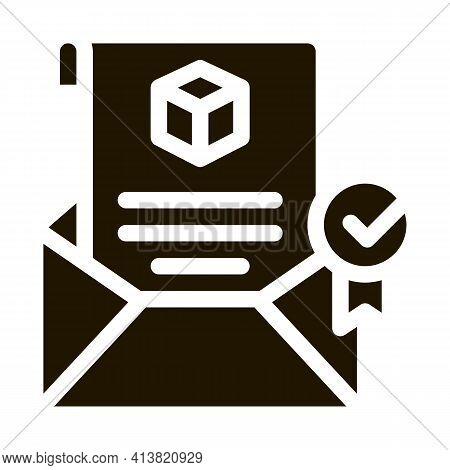 Parcel Notification Letter Glyph Icon Vector. Parcel Notification Letter Sign. Isolated Symbol Illus
