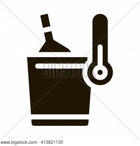 Cooling Wine Bottle Glyph Icon Vector. Cooling Wine Bottle Sign. Isolated Symbol Illustration