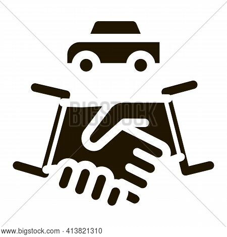 Car Purchase Deal Glyph Icon Vector. Car Purchase Deal Sign. Isolated Symbol Illustration