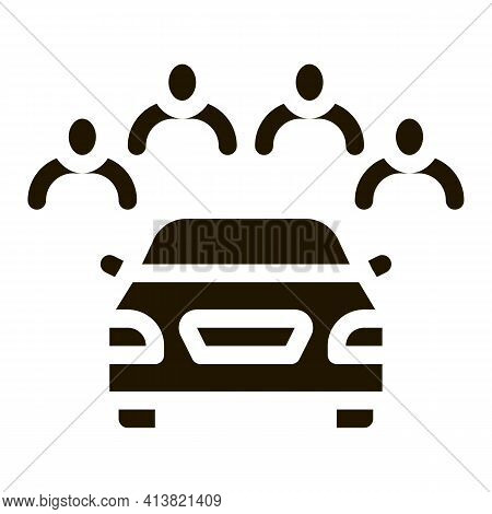 Inspection Of Machine By Group Of People Glyph Icon Vector. Inspection Of Machine By Group Of People